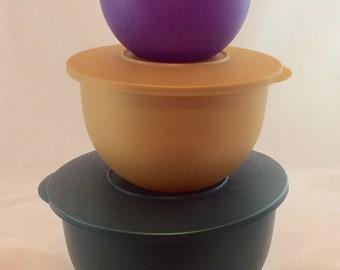 Vintage Tupperware Jewel Impressions Bowls and Lids 6 Piece, Vintage Tupperware Graduated Bowls