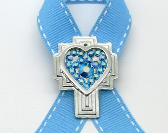 Prostate Cancer Awareness Pin, Cross, Crystals, Handmade, Gift for Anyone, Angels, Jewelry