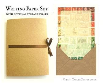 Boho Sunset Writing Paper Set | Orange Green Letter Writing Folio - Vintage World Postage Stamp Design | Boho Gift for Penpal, Letter Writer