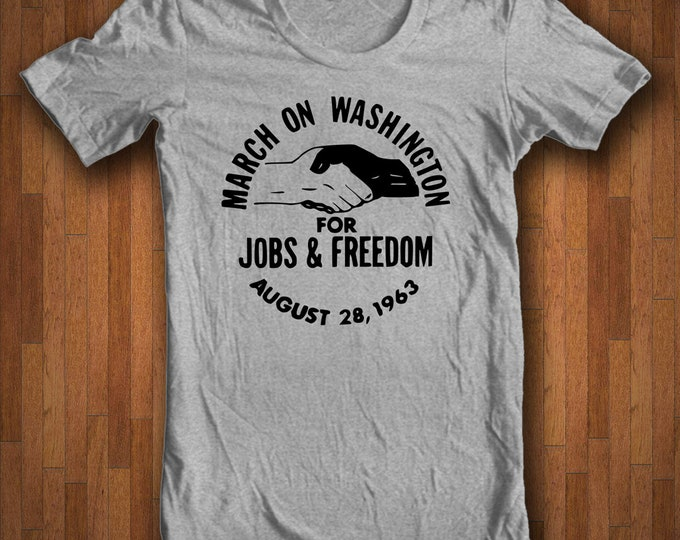 Featured listing image: Civil Rights Shirt - March on Washington for Jobs and Freedom - August 28 1963 - US History Vintage Button Civil Rights T-shirt