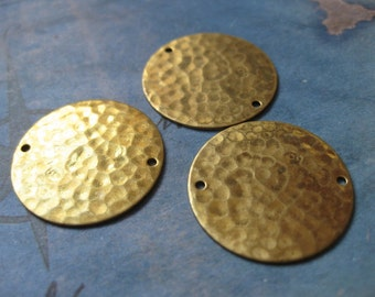 4 PC Raw Brass Hammered and Pierced Disk Finding / 22mm - RR06