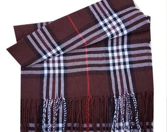 Men Super Soft Check Style Pashmina Luxury Feel Scarf For Day To Evening Occasions (Brown)