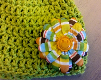 Baby hat, green hat, girl's hat, cotton hat, crochet hat, cotton yarn