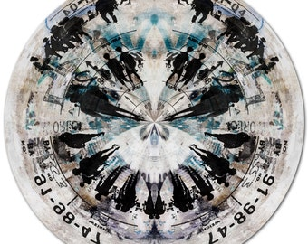 HUMAN SPHERE XXV (Ø 100 cm) by Sven Pfrommer - Round artwork is ready to hang