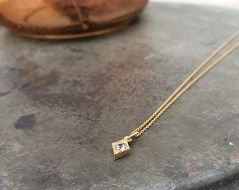 VALENTINES DAY, 14k Solid Gold, Diamond Pendant, Genuine White Sapphire, Kite necklace
