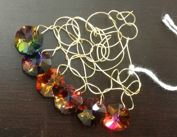 PENDANT Multi color swaroviski crystal pendant and random golden wire