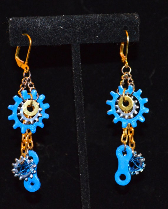 Blue bicycle chain earrings, unique, edgy and upcycled