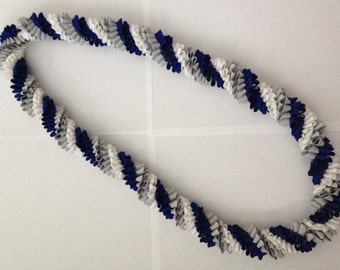 Blue Grey and White Rick-Rack Lei with Bow