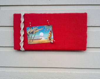 PinBoard in Burlap with a offwhite macrame cord detailing for a Retro and beachy styled decor for your cabin or office, custom options