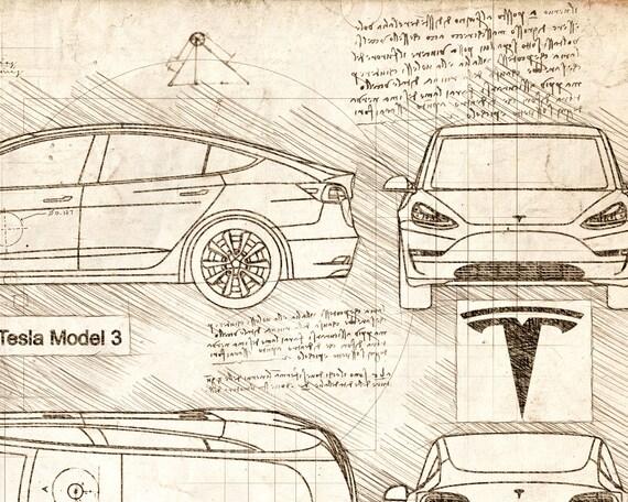 Tesla model 3 2018 da vinci sketch tesla artwork blueprint tesla model 3 2018 da vinci sketch tesla artwork blueprint specs blueprint patent prints posters tesla art car art cars 260 malvernweather Gallery