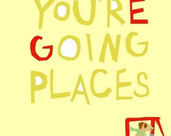 Greeting card you're going places dog in truck note card