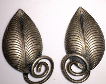 Silver Signed Napier Earrings Mid-century Clips Vintage Articulated Leaves Climber Earring Clip Ons