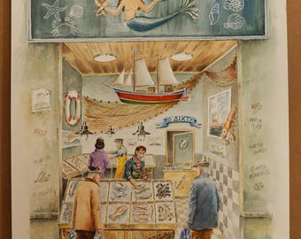 TRADITIONAL GREEK STORES, Old Fish Store (Aquarelle), 50x70cm, 2015