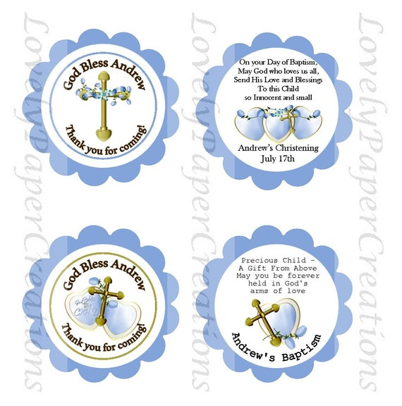 Personalized Baby Boy Baptism Christening Favor Tags Set Of