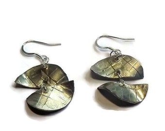 Contemporary silver earrings, Pewter earring dangles, handmade boho earrings for women jewelry with sterling silver earwires, free shipping