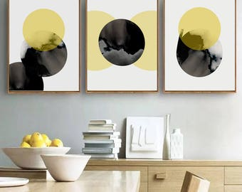 Abstract Wall Art Set Of 3 Prints Yellow Art Black Print Geometric Poster Digital Download Circle Art Large Prints Living Room Decor 18x24