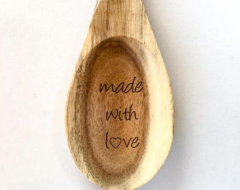 Made with Love Serving Spoon, Engraved Serving Spoon, Thanksgiving Table Decor, Custom Spoon, Wooden Spoon, Engraved Spoon, Serving Utensil