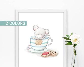 Kids room wall art, Baby nursery print, Baby room decor, Woodland prints, Tea cup art