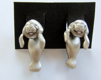 Hard To Find JJ Jonette Adorable Silver Pewter 3-D Manatee Pierced Earrings