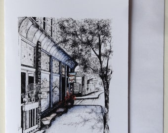 """Single Note Card - """"Hardware Store at the Light"""" - 5"""" x 8 1/2"""""""