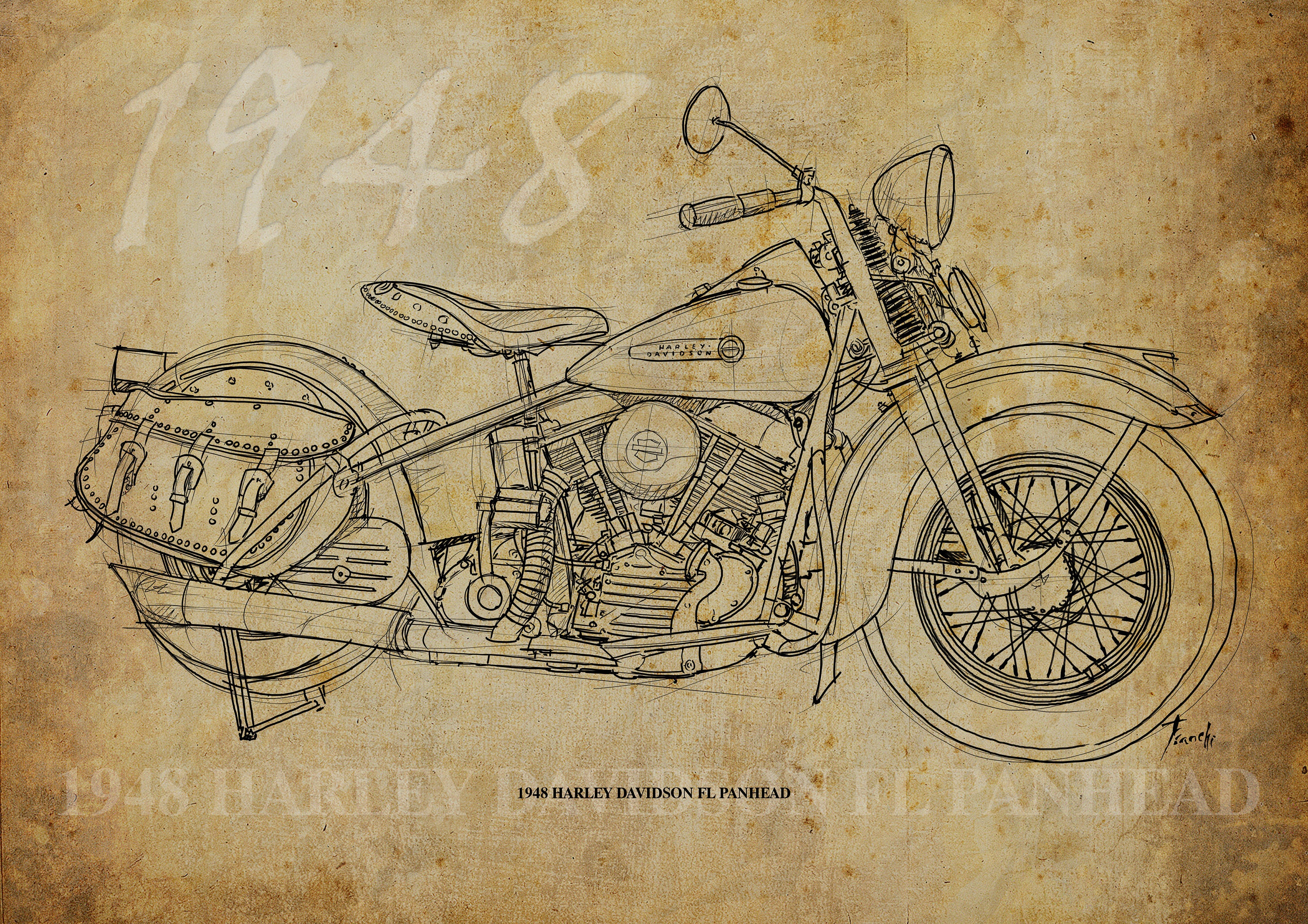 1948 harley davidson fl panhead 12x850 in to 60x42in based zoom kristyandbryce Image collections
