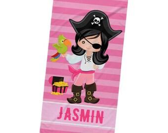 Pirate Personalized Beach Towel, Custom Beach Towel, Name Towel, Kids Beach Towel, Towel With Name, Girls Beach Towel, Personalized Gift