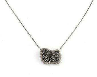 April Sale 1 Pc Pave Diamond & Black Spinel Necklace - 925 Sterling Silver - Unique design Necklace Chain 20mmx15mm PD1302