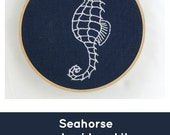 Embroidery kit, seahorse embroidery pattern, indigo, blue and white, modern embroidery kit, seahorse cross stitch pattern, DIY embroidery