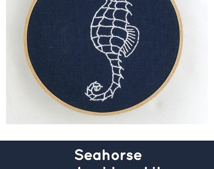 Seahorse Embroidery Kit: Indigo!