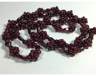 Vintage Dark Wine Red Garnet Cluster Beaded Necklace
