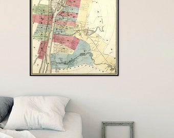 Old map of Troy - Large wall map, fine print