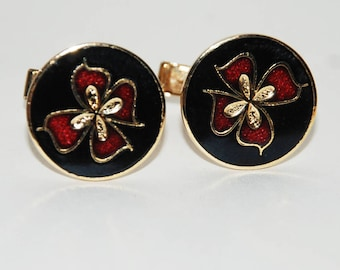 1970s Gervais Quebec Enamel Cufflinks -- Free US Shipping!