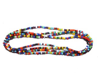 Vintage Long Czech Republic Glass Beaded Necklace - layering necklace stacking necklace vibrant bead saturated color