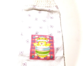 Hatching Easter Chick Hand Towel With White Crocheted Top