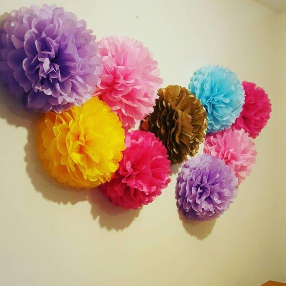 9 x wall pompom tissue paper flowers girls birthday party mightylinksfo