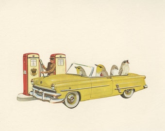 Road trip.  Collage print by Vivienne Strauss.