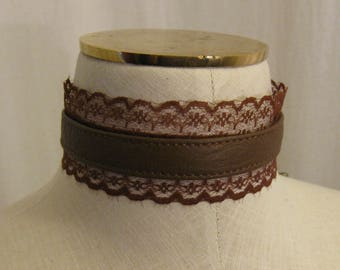 Brown Leather and Lace Steampunk style Choker