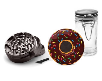 Sprinkled Donut Metal Grinder Herb With Catcher Set, 4 Piece Grinder with Free Herb Jar, For Men, for Girls, Gifts for Smokers 001