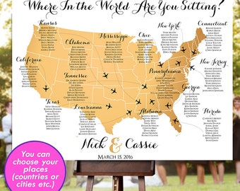 Wedding seating chart rush service silver world map travel wedding seating chart rush service gold usa world map plane travel theme reception poster gumiabroncs Images