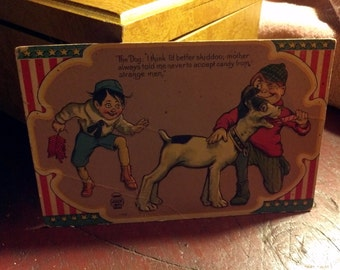 Antique 4th of July postcard - boys mistreating dog w/ firecrackers ... patriotic