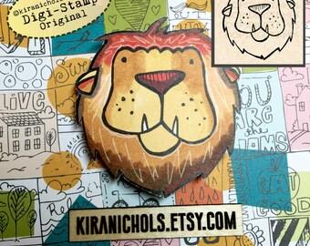 Lion Digital Stamp - Digistamp - Big cat Digital Stamp - Coloring Pages - Printable Sticker - Clip Art - Printables