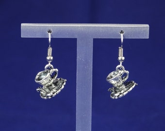 Silver Cup & Saucer Earrings