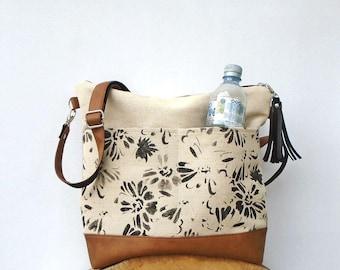 Canvas crossbody bag zipper large medium, Jute shoulder bag with pockets, canvas hobo crossbody purse, vegan leather purse, canvas tote bag
