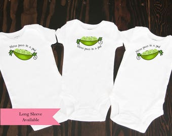 Three Peas in a Pod triplet clothing baby bodysuits set of 3 great shower gift for triplets multiples sweet pea