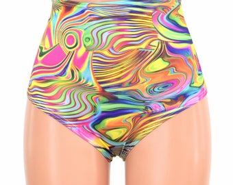"High Waist ""Siren"" Hot Pants in Tropical Swirl Print Spandex Rave Festival Clubwear Trippy - 154814"