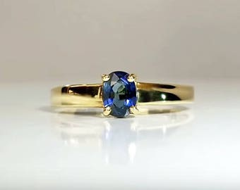 1/2 ct Sapphire Engagement Ring in 14K Yellow Gold / Natural Blue Sapphire Gemstone Ring / See Video! / De Luna Gems / Free Shipping!