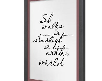 She Walks In Starlight In Another World Print The Hobbit Quote #1
