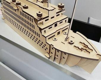 Titanic 3D puzzle ,CNC ,decoration,decorative ,interior,cdr file ,wood, vector graphic,lasercut
