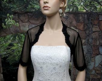 Lace bolero, wedding bolero, bridal bolero, black elbow length sleeve bridal dot lace wedding bolero jacket