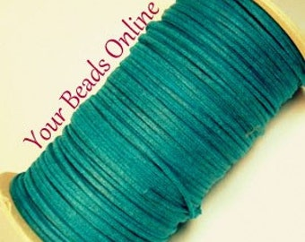 Wax Cotton Cord 1mm Teal Color is Blue Green 8 yards or 24 feet 25 Colors Available